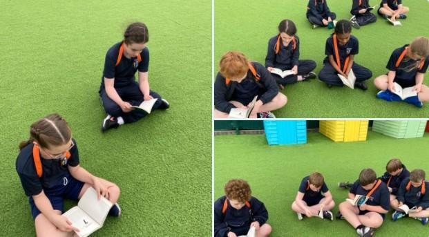 Harnessing the sunshine and completing our story session outdoors today.