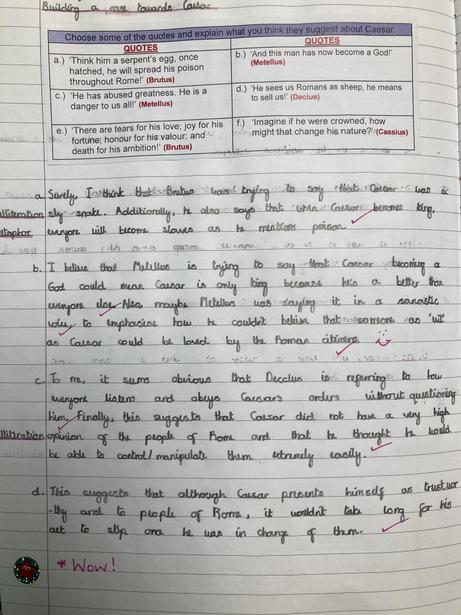 Analysing character quotes from 'Julius Caesar'