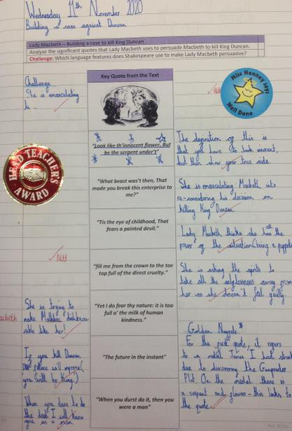 Analysing Lady Macbeth's quotes