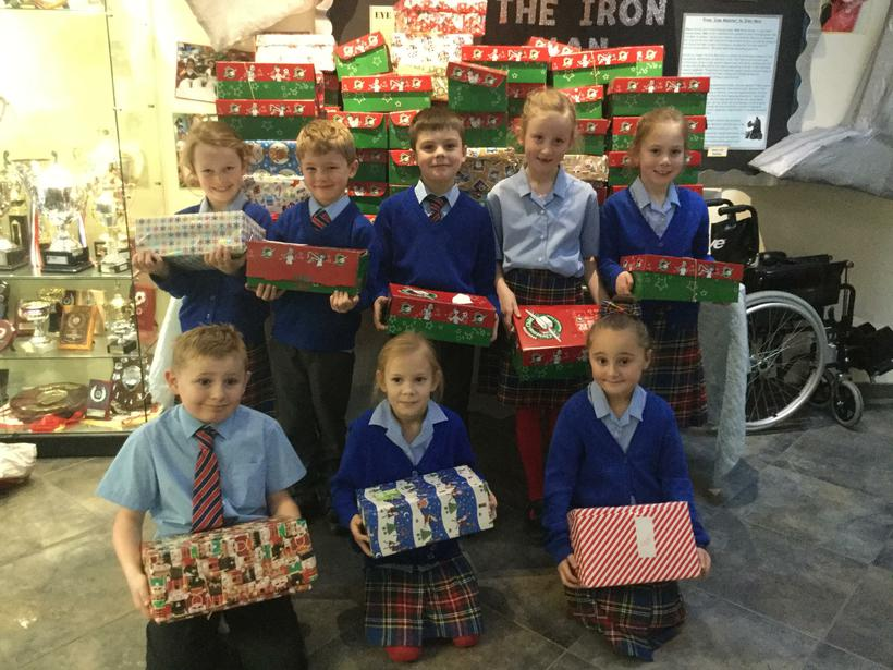 Just a few of the many shoebox donations