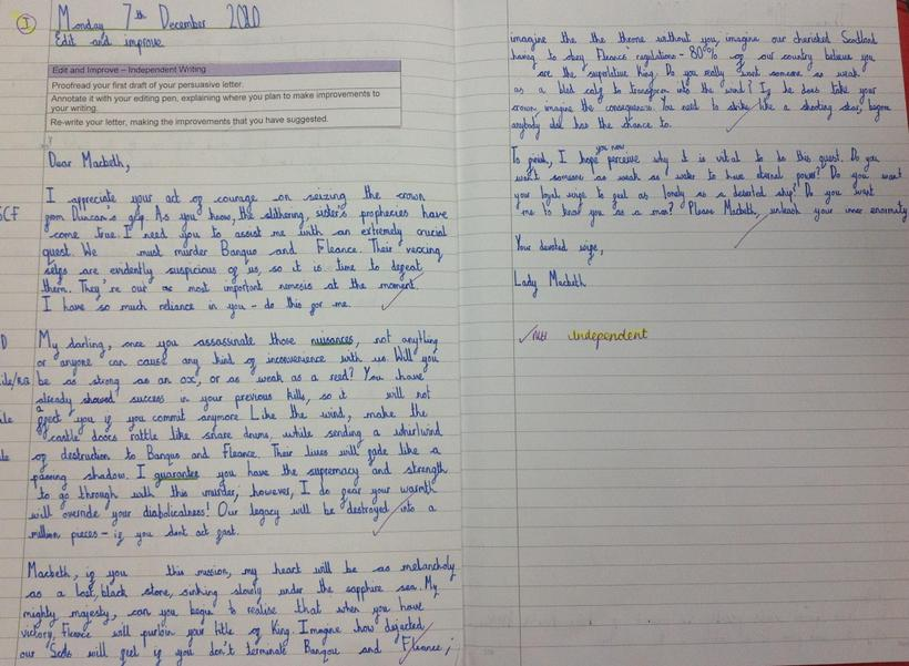 Persuasive letter in the shoes of Lady Macbeth