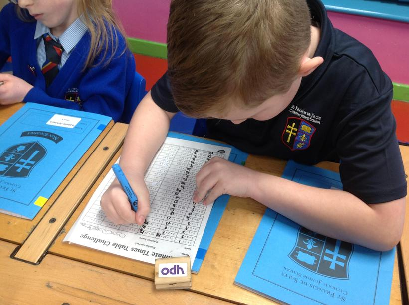 Working hard to complete our timetable sheet!