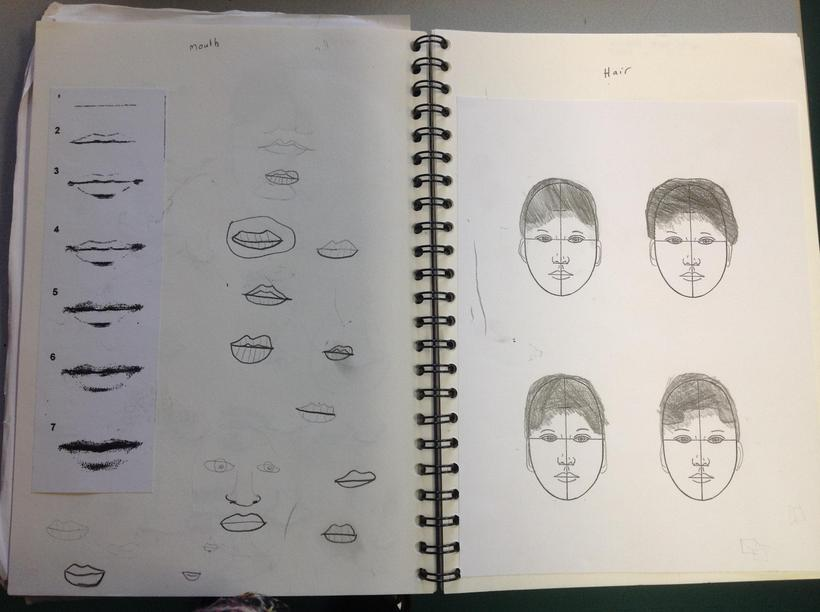 Sketching hair and mouths