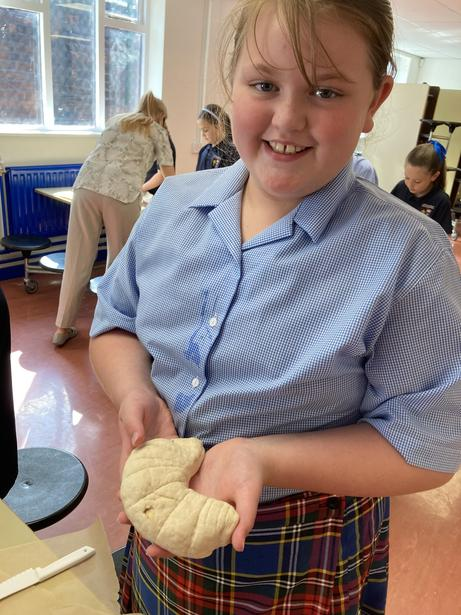 Children used techniques learnt in class to help shape their dough.