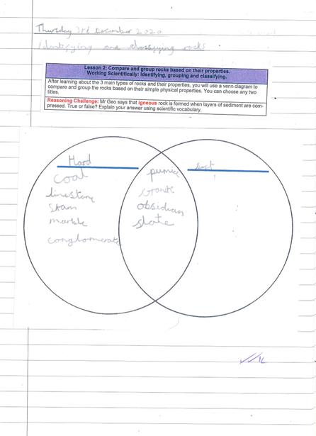 Using Venn Diagrams to sort rocks based on their properties