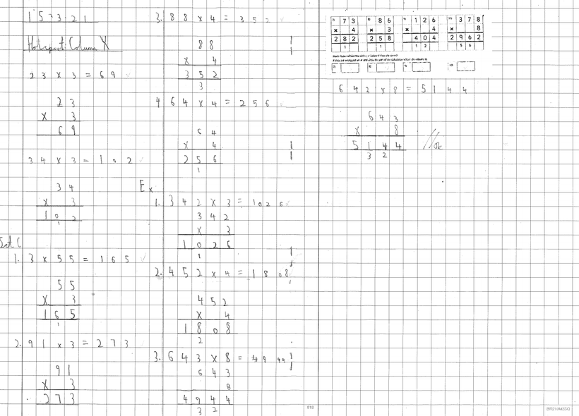 Independent Multiplication: Column Method