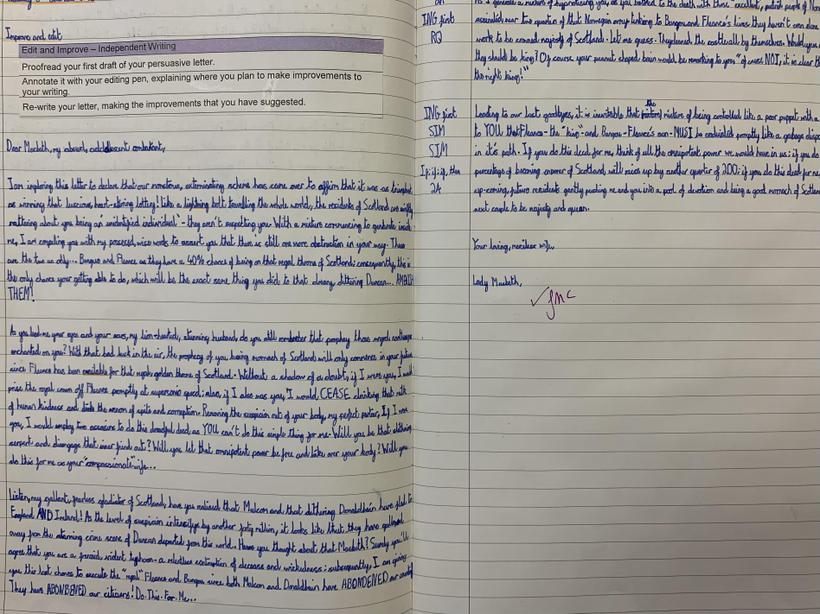 Stepping into the shoes of Lady Macbeth and writing a persuasive letter...