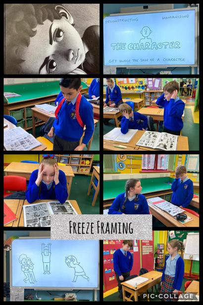 Using varying facial expressions, hand gestures and responding to questions in role