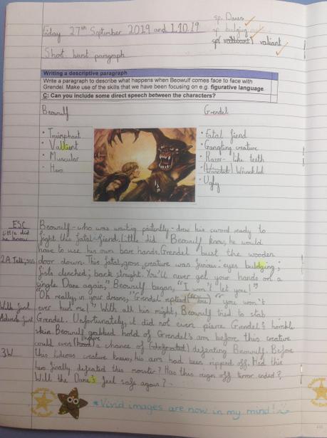 Describing the battle between Beowulf and Grendel