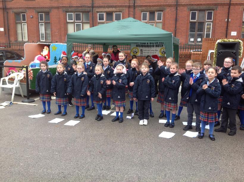 Y4 choir children performing at Jacks