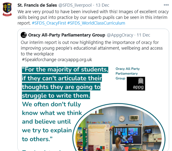 The Oracy APPG sharing an image from our school in their interim report