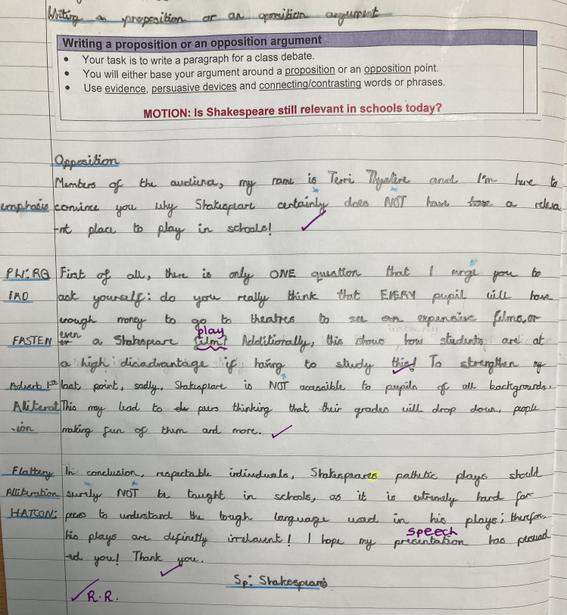 Motion: Is Shakespeare still relevant in schools today?