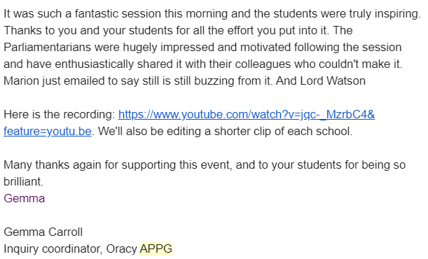 An email we received following the Oracy APPG interview