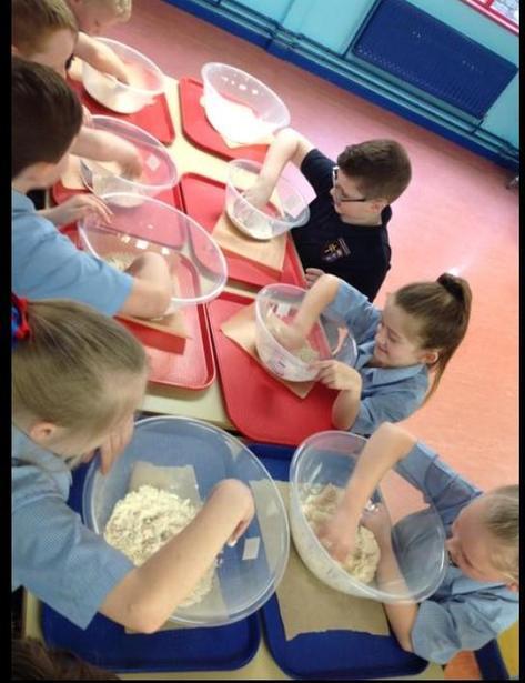 Kneading the dough.