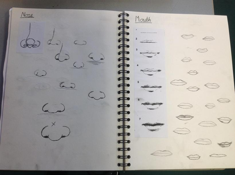 Sketching mouths and noses