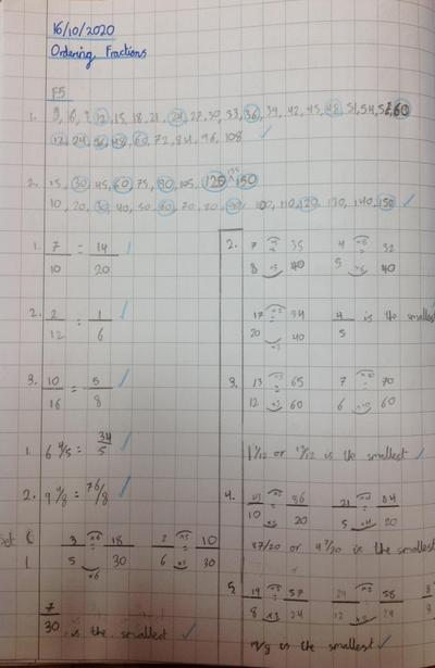 Order and comparing fractions