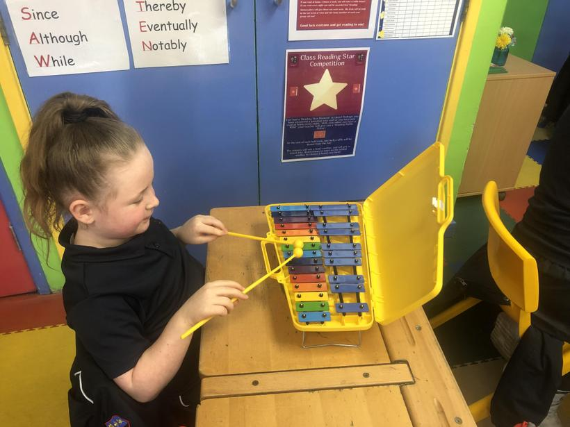 Our first lesson using the glockenspiel!