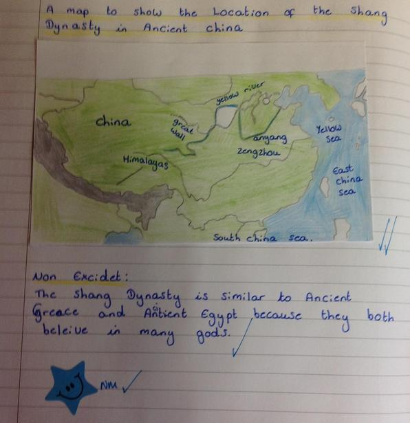 Drawing a map to show the location of the Shang Dynasty