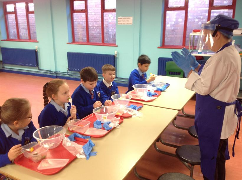 Working with our school cook