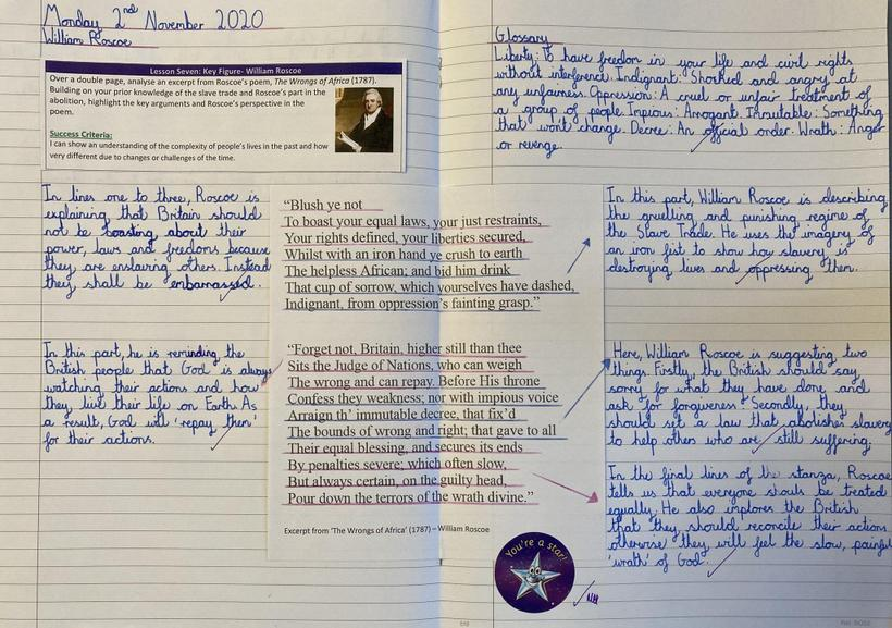 Analysing a poem by William Roscoe to understand his perspective on slavery.