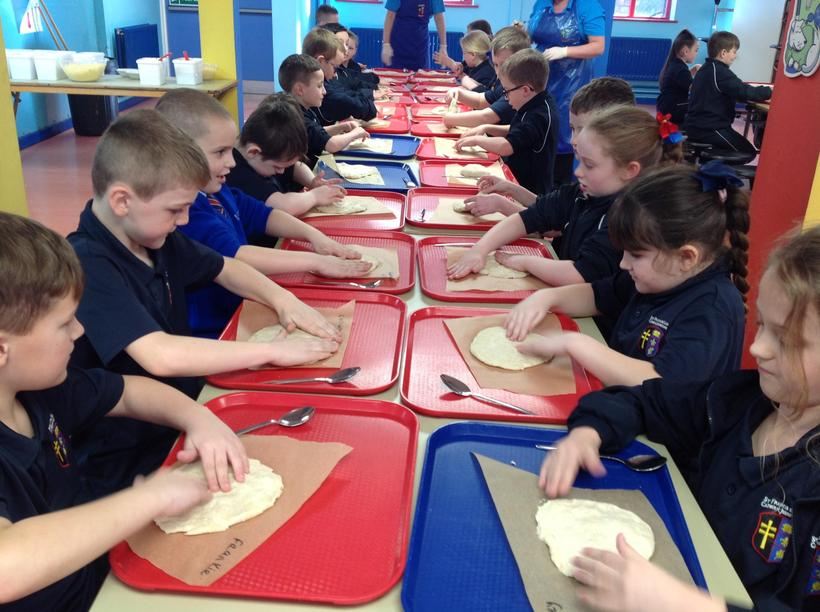Preparing our dough - this was hard work!