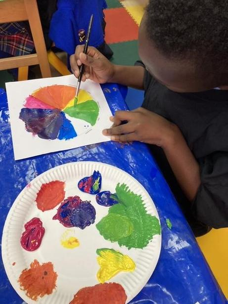 Using primary colours to make secondary colours
