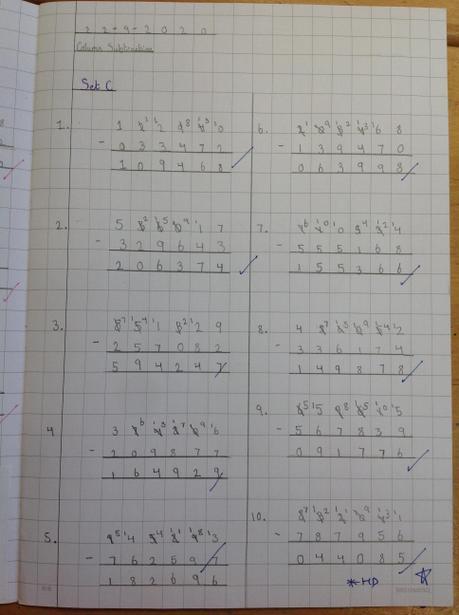Using column subtraction