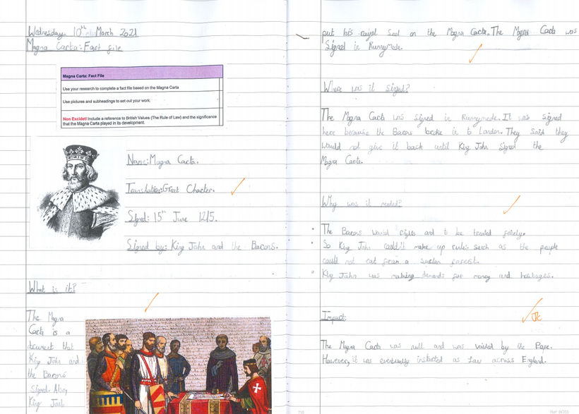 Creating a fact-file about the Magna Carta