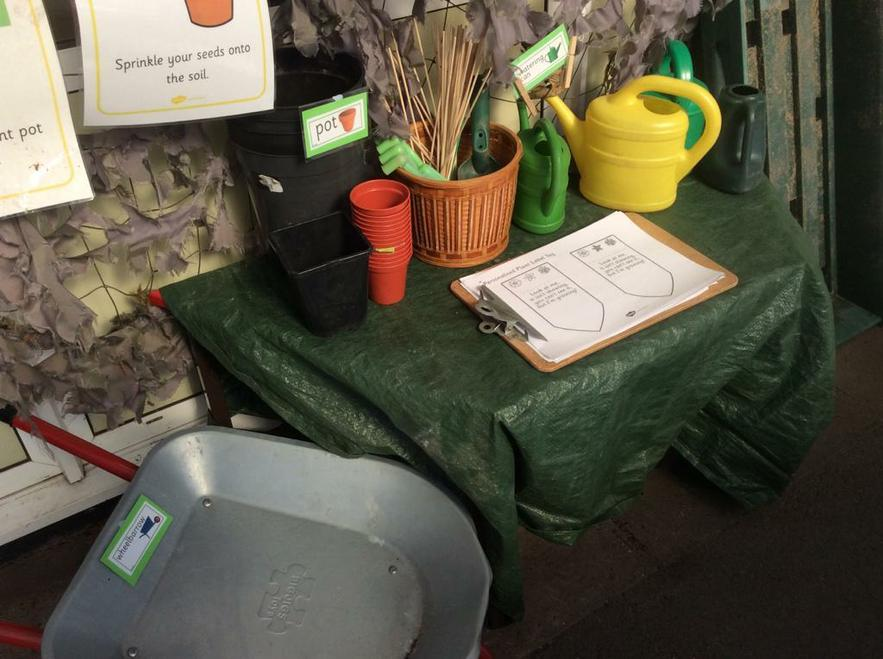 Watering plants and writing labels