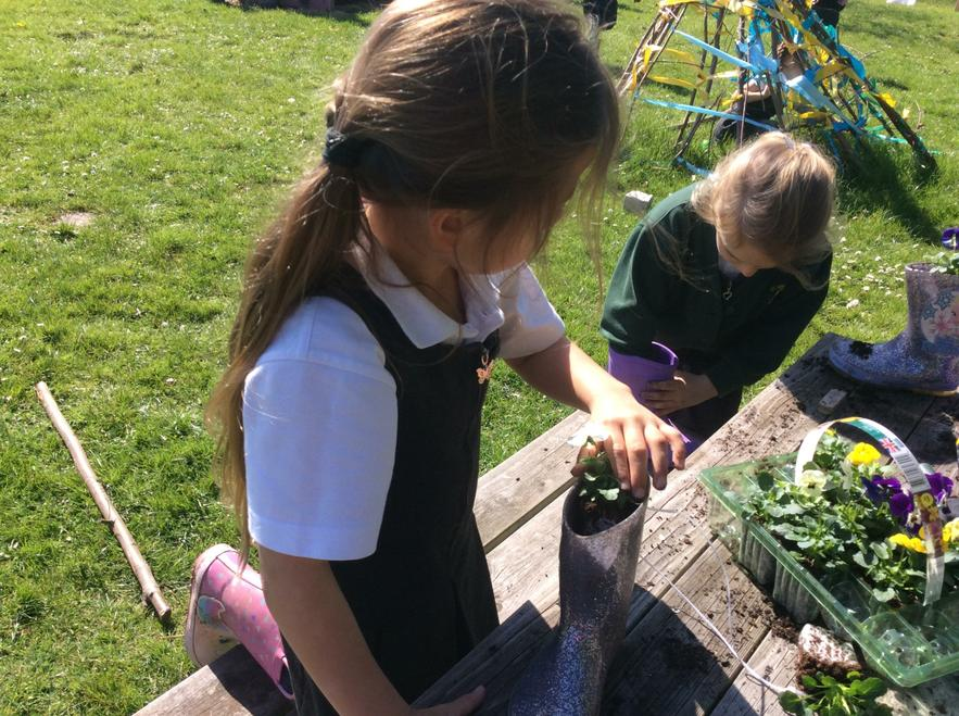 A gardener-Planting flowers in the wellies
