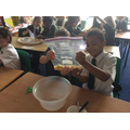 Adding the mashed food with orange juice to represent the stomach churning.