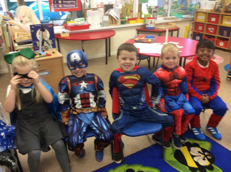 Children dressed as superheroes to raise money