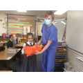 Mrs Michniok, a dentist, taught us about correct tooth brushing.