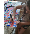 Emily adding the finishing touches