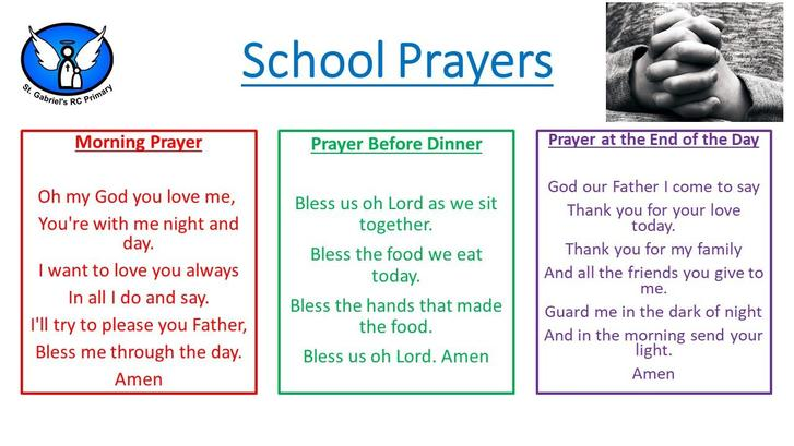 Please help your child to learn these prayers at home.