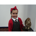 Surprise owl visit! We all held Fudge the owl!