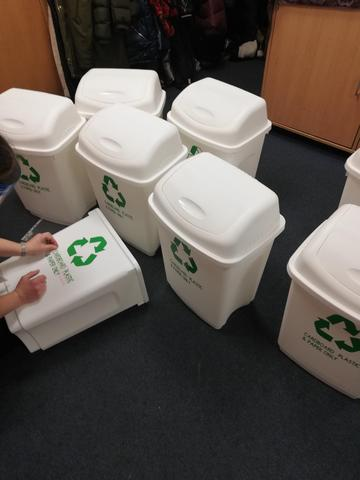 Making our new recycling bins!