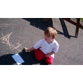 We practiced writng our names using chalk in the outdoor area.
