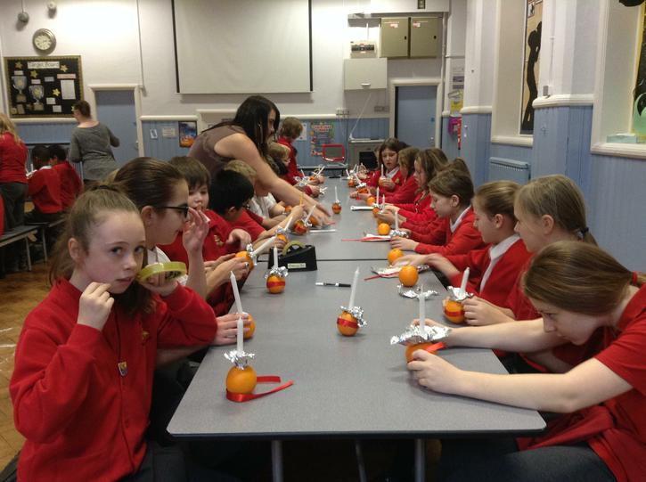 The whole school made Christingles.
