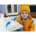 Seren made a snow sculpture