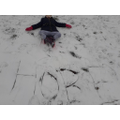Hope wrote her name in the snow