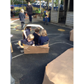Making boats using cardboard boxes