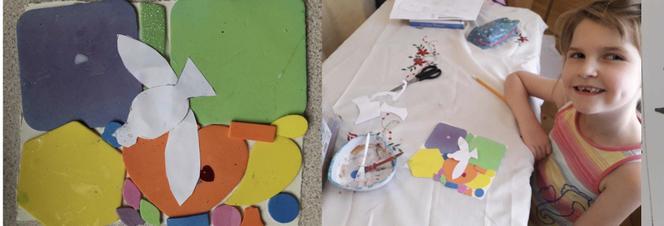 Phoebe made Pentecost crafts.