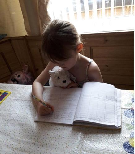 Phoebe studying