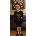 Grace ready for Irish Dancing online class