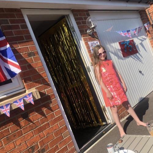 Lily celebrating VE Day
