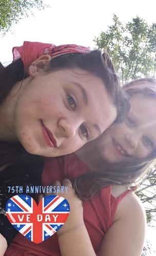 Ava & her sister celebrating VE Day