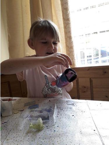 Phoebe making her rocket