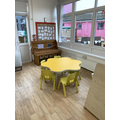 This is the mark making area where the children can e explore the new message centre.