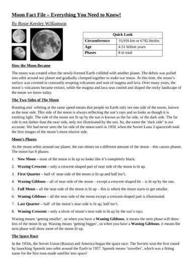 Moon Fact file Page 1